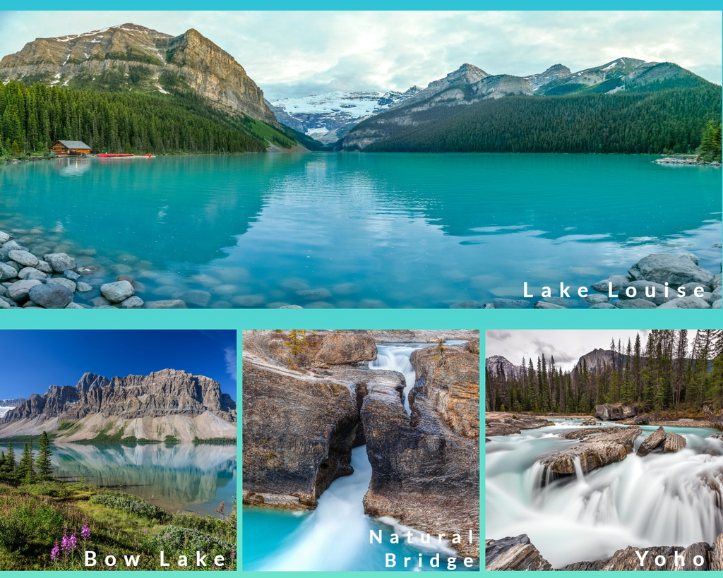 弓湖、翡翠湖、天然石橋、露易絲湖、蓋斯鎮、格蘭維爾島